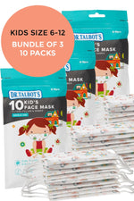 Nuby Disposable Kids Face Masks (6-12 yrs) 10 Pack - Bundle of 3