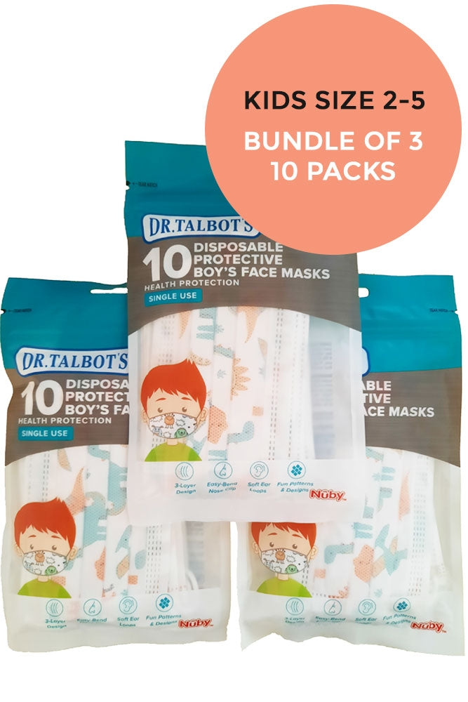 Nuby Disposable Little Kids Face Mask (2-5 yrs) 10 Pack - Bundle of 3