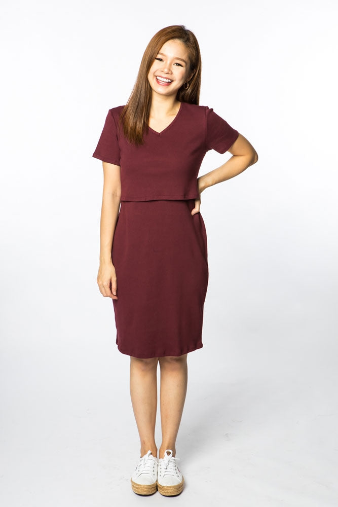 Palmer Ribbed Cotton Nursing Dress - Wine