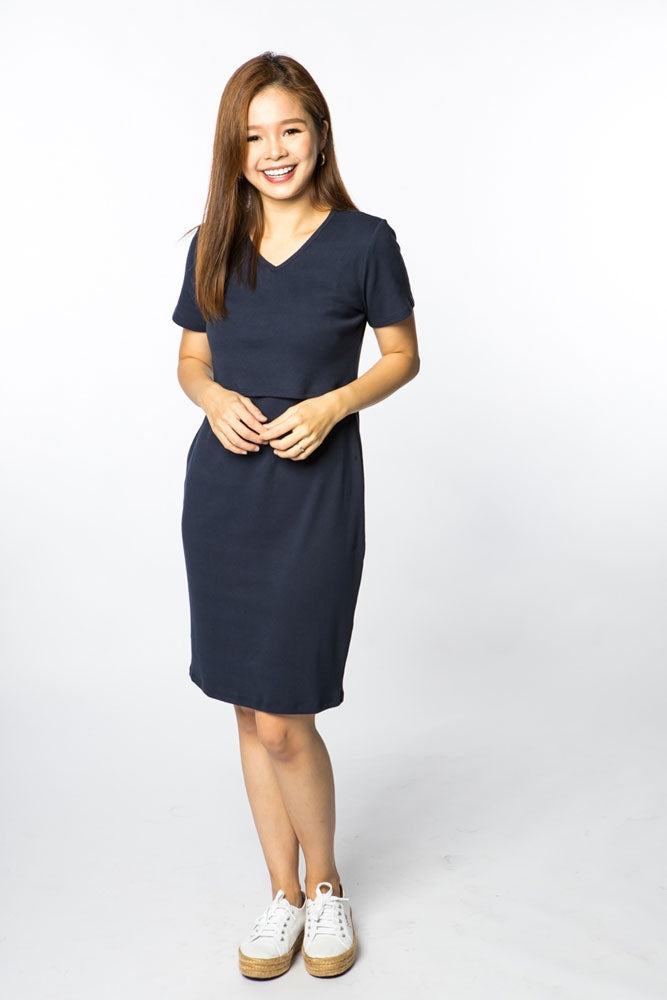 Palmer Ribbed Cotton Nursing Dress - Navy