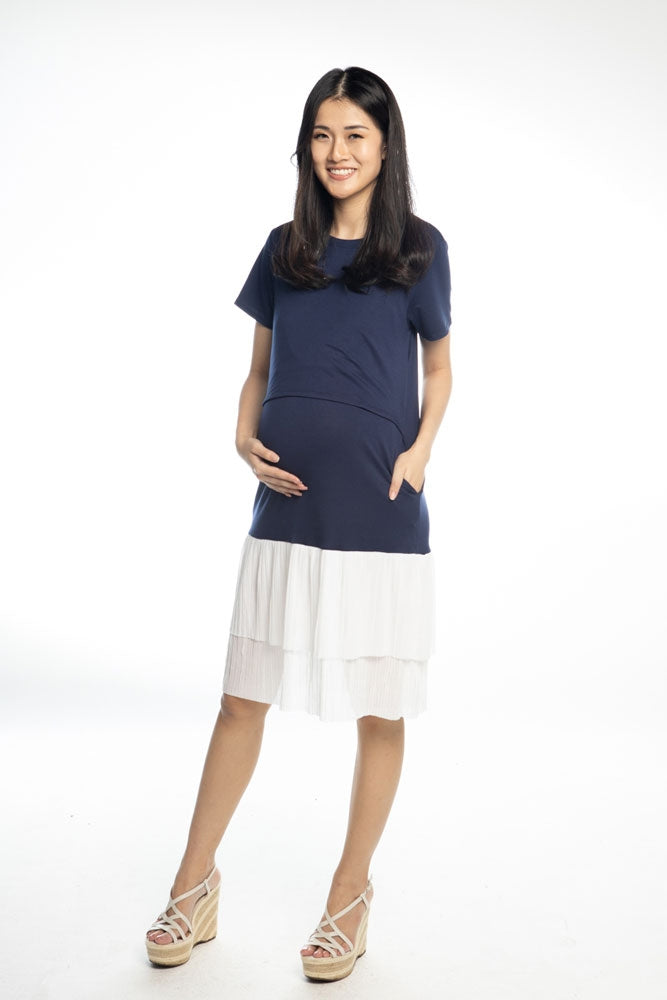 Issa Pleated Ruffles Nursing Dress - Navy