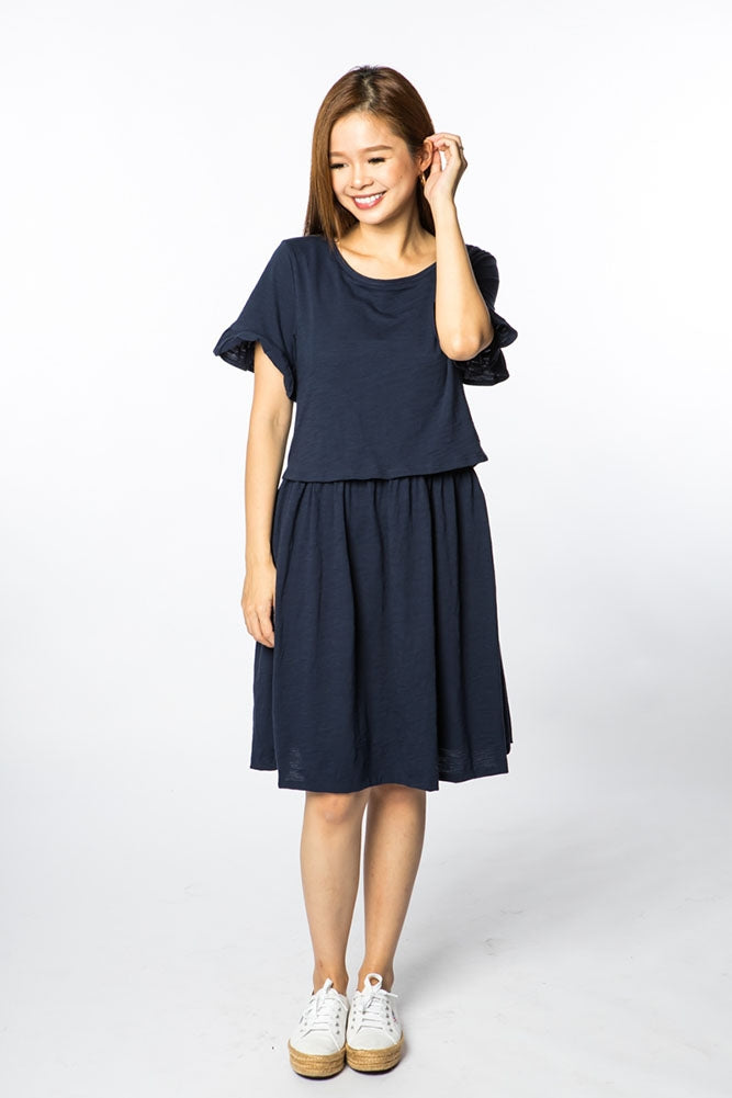 Nova Babydoll Maternity & Nursing Dress - Navy