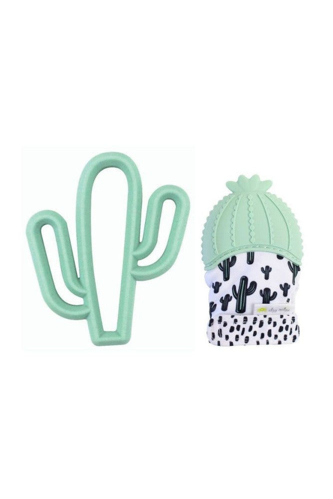Itzy Ritzy Silicone Teething Mitt & Teether Baby Gift Set - Cactus