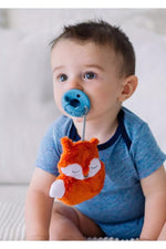 Itzy Ritzy Sweetie Pal Plush & Silicone Pacifier Set - Fox + Blue Arrow