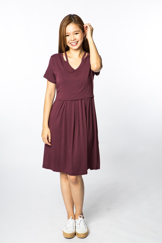 Meghan V--Neck Nursing Dress - Wine