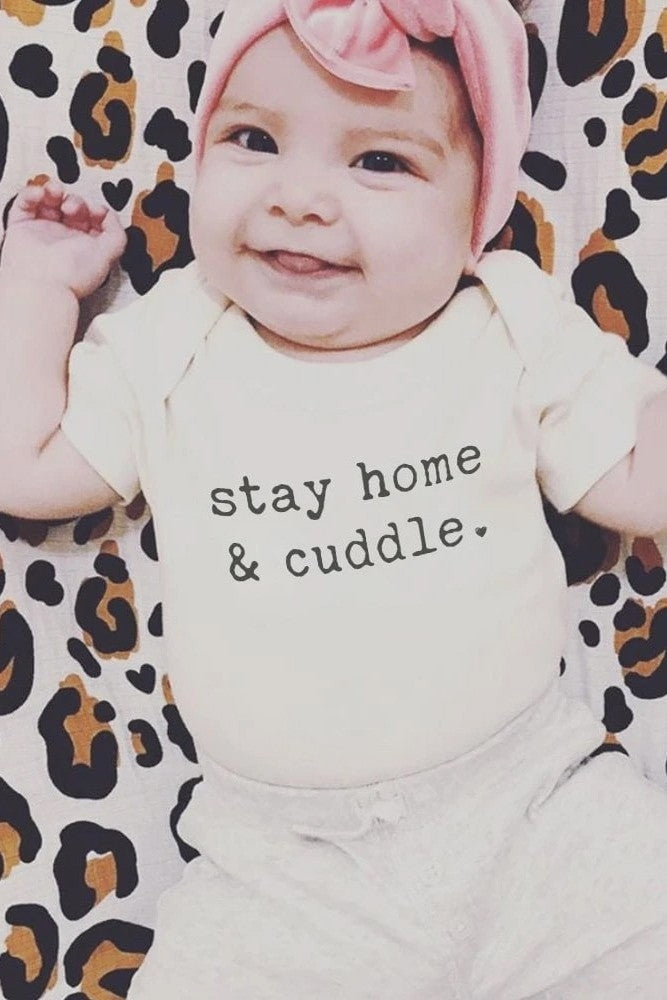Finn + Emma Organic Cotton Graphic Bodysuit - Stay Home & Cuddle