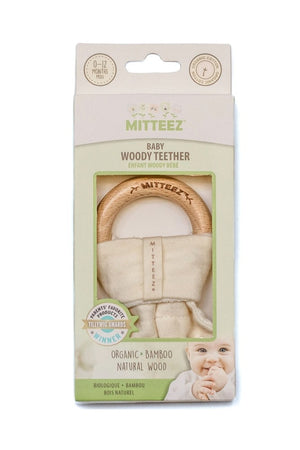 Mitteez Organic Cotton and Natural Wood Baby Teething Ring