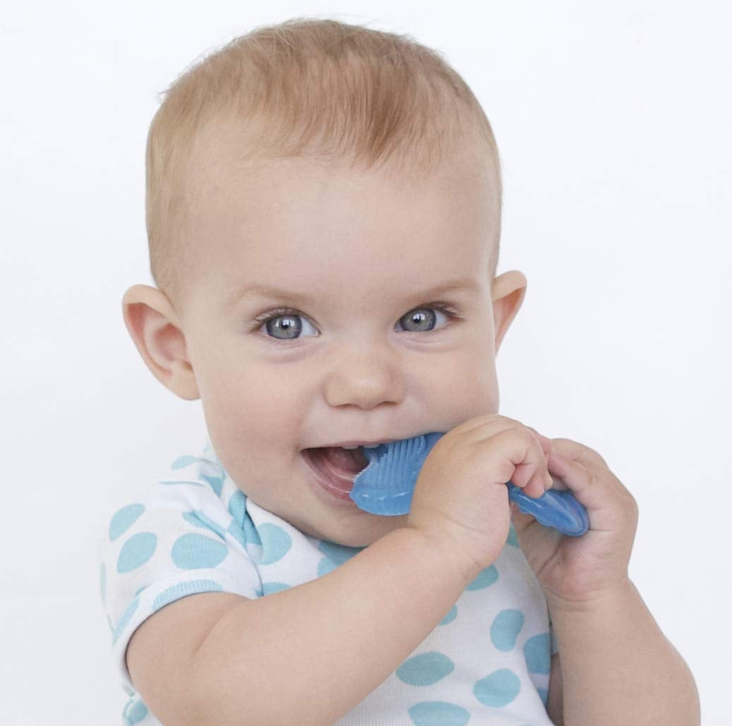 Nuby Silicone Teethe-eez Teether with Teething Bristles + Hygienic Case