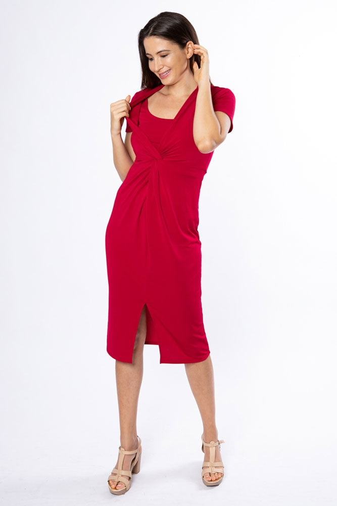 Olga Twist Nursing Dress - Lipstick