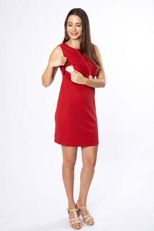 Alex Ribbed Tank Dress - Scarlet