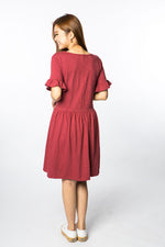 Nova Babydoll Maternity & Nursing Dress - Brick