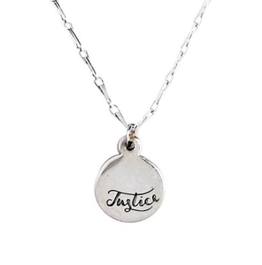 silver pendant with justice engraving hangs on silver chain - Eden Love & Justcie colletion - Shop Ethical Jewellery & Fair Trade Gifts Melbourne at ONLY JUST