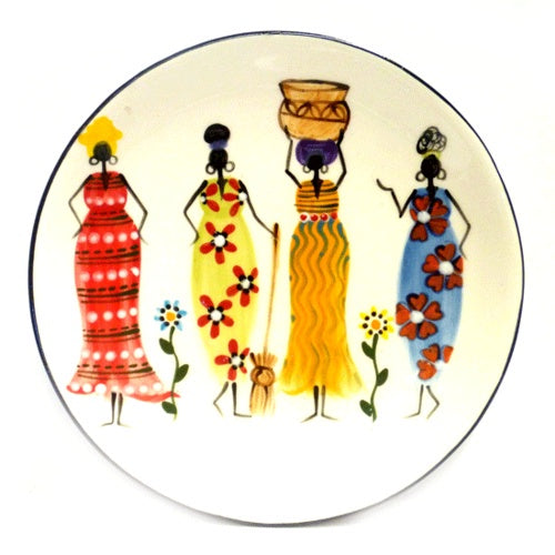 Kapula handmade & handpainted ceramic dessert plate - white background with african ladies motif - Shop Fair Trade, Handmade, Ethical Gifts and homewares at ONLY JUST