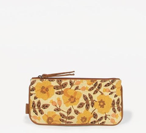 haHandmade Joyn Ira zip-up pouch with golden blossom pattern block printed cotton and vegan leather details - Shop Joyn Fair Trade and Vegan Handbags at ONLY JUST
