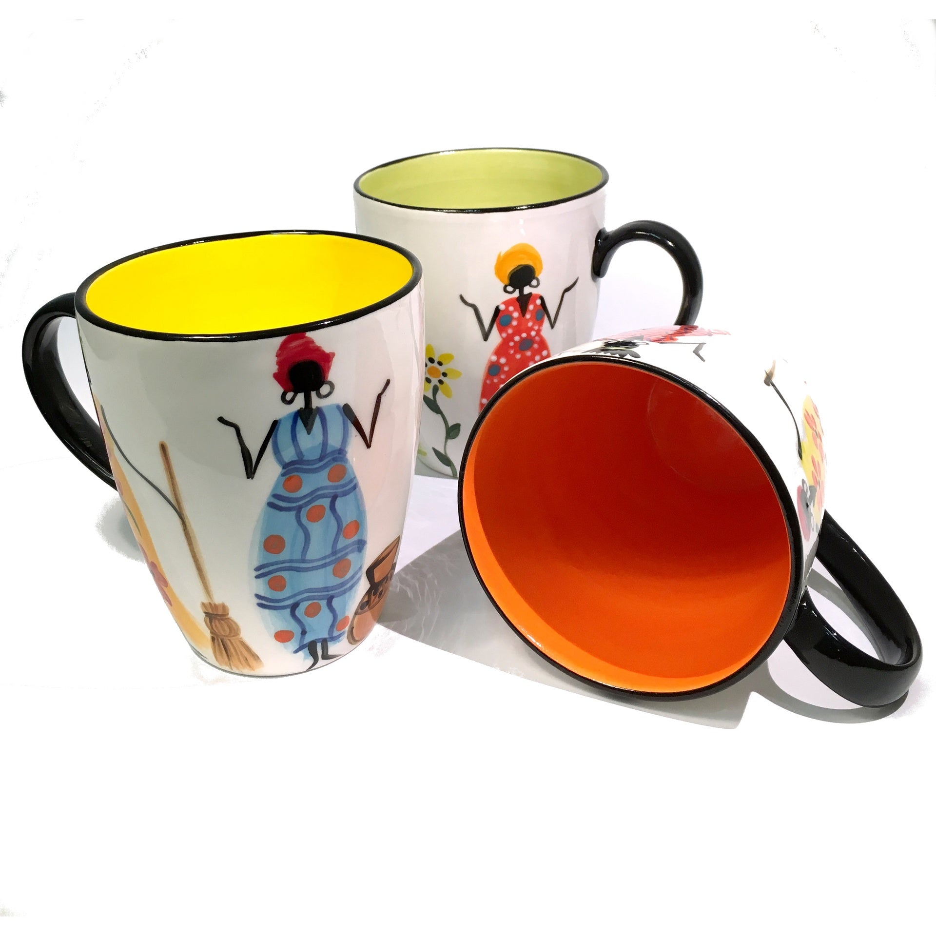 three Kapula handmade & hand painted ceramic mugs - white background with african ladies motif - Shop Fair Trade, Handmade, Ethical Gifts and homewares at ONLY JUST