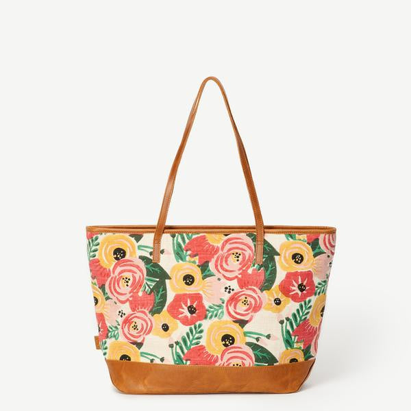 Tote bag with bright floral pattern