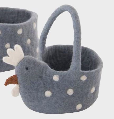 Pashom Felt Chicken Basket, Medium - Nepal
