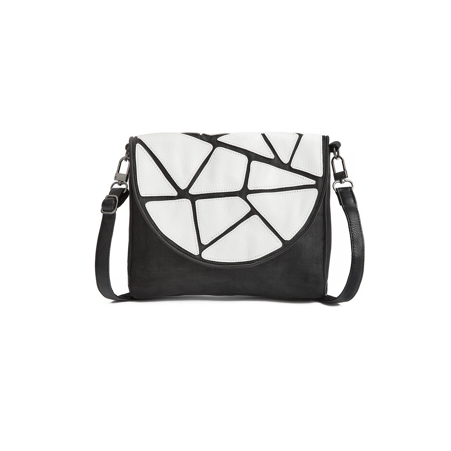 Ava leather and nylon bag by Smarteria - white patchwork semi-circle foldover flap with black nylon net body and adjustable long shoulder strap - Shop Fair Trade, Handmade, Ethical, Sustainable accessories & gifts Melbourne at ONLY JUST