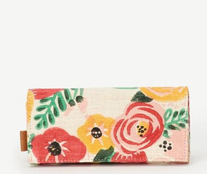 Joyn Handmade Block printed cotton wallet with bright floral pattern  – Shop Joyn Fair Trade and Vegan Handbags at ONLY JUST