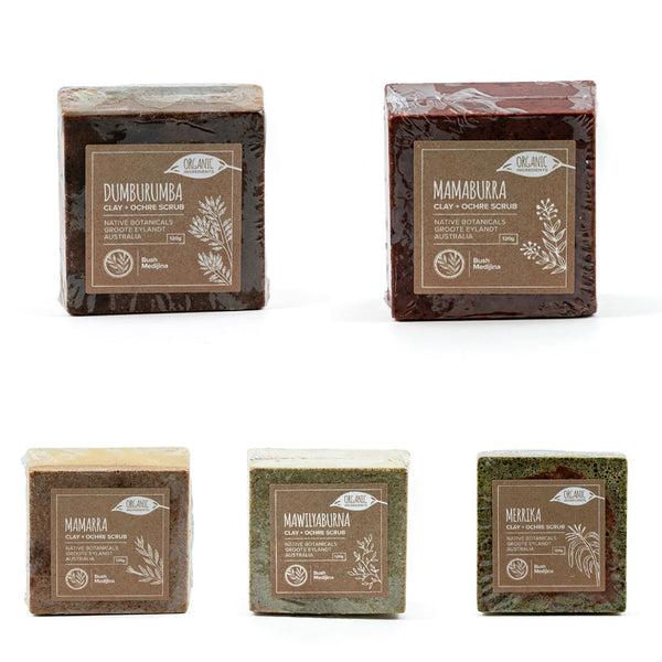 Bush Medijina Clay & Ochre body scrub collection - Shop Fair trade, Ethically handmade, natural Australian skincare at ONLY JUST