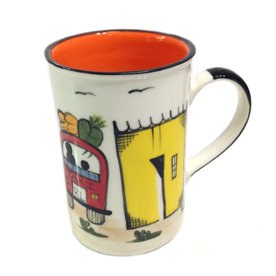 Kapula handmade & hand painted ceramic mug - white background with african township motif - Shop Fair Trade, Handmade, Ethical Gifts and homewares at ONLY JUST