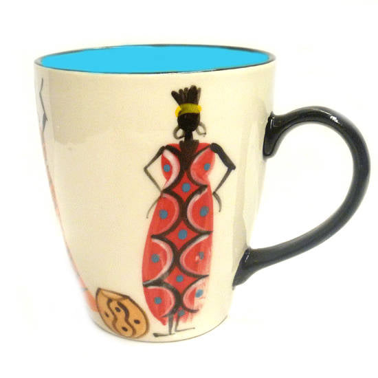 Kapula handmade & hand painted ceramic mug - white background with african ladies motif - Shop Fair Trade, Handmade, Ethical Gifts and homewares at ONLY JUST