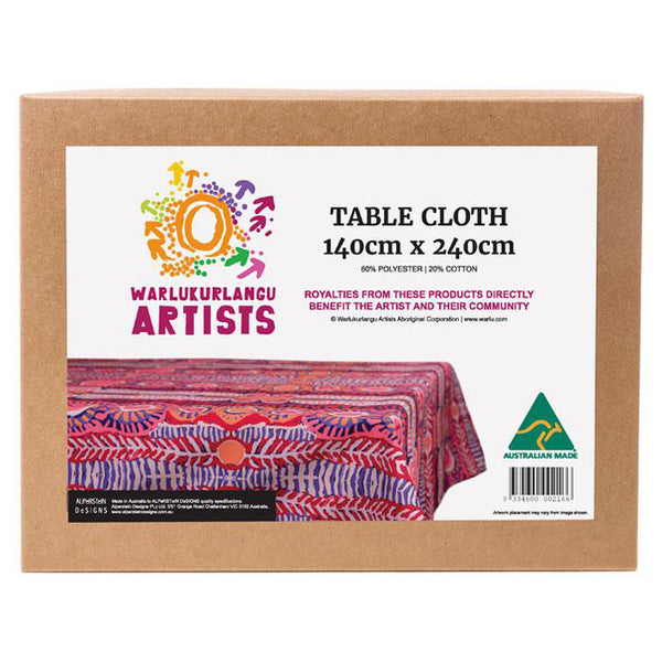 Boxed tablecloth with Aboriginal design by artist Murdie Morris