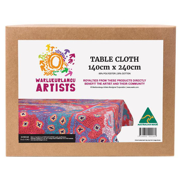 Boxed tablecloth with Aboriginal design by artist Ruth Stewart