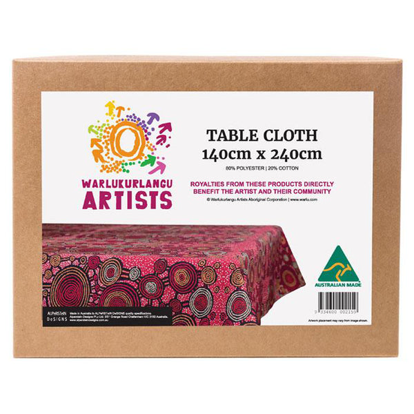 Boxed tablecloth with Aboriginal design by artist Teddy Gibson