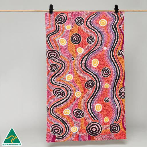Alperstein Designs Aboriginal Art Print Tea Towel design by Otto Sims