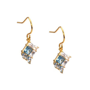 Eden Salt & Light Drop Earrings - gold plated with blue stone setting - Shop Ethical Jewellery & Fair Trade Gifts Melbourne at ONLY JUST