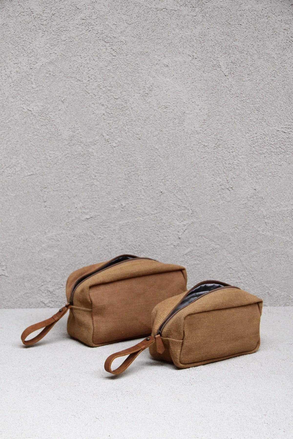 Dharma Door Fair Trade Gifts - Handmade Soft washed jute canvas zip-up toiletry bag - minimalist camel colour with brown leather accents