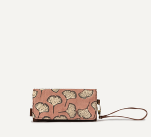 Joyn Vanya Handmade Block printed zip up pouch with fan floral and vegan leather clip-on wrist strap – Shop Joyn Fair Trade and Vegan Handbags at ONLY JUST