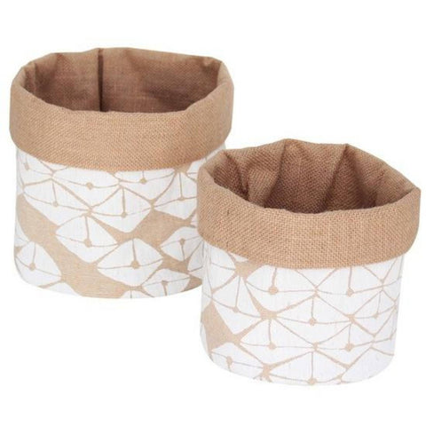 Dharma Door hessian cloth baskets with white motif
