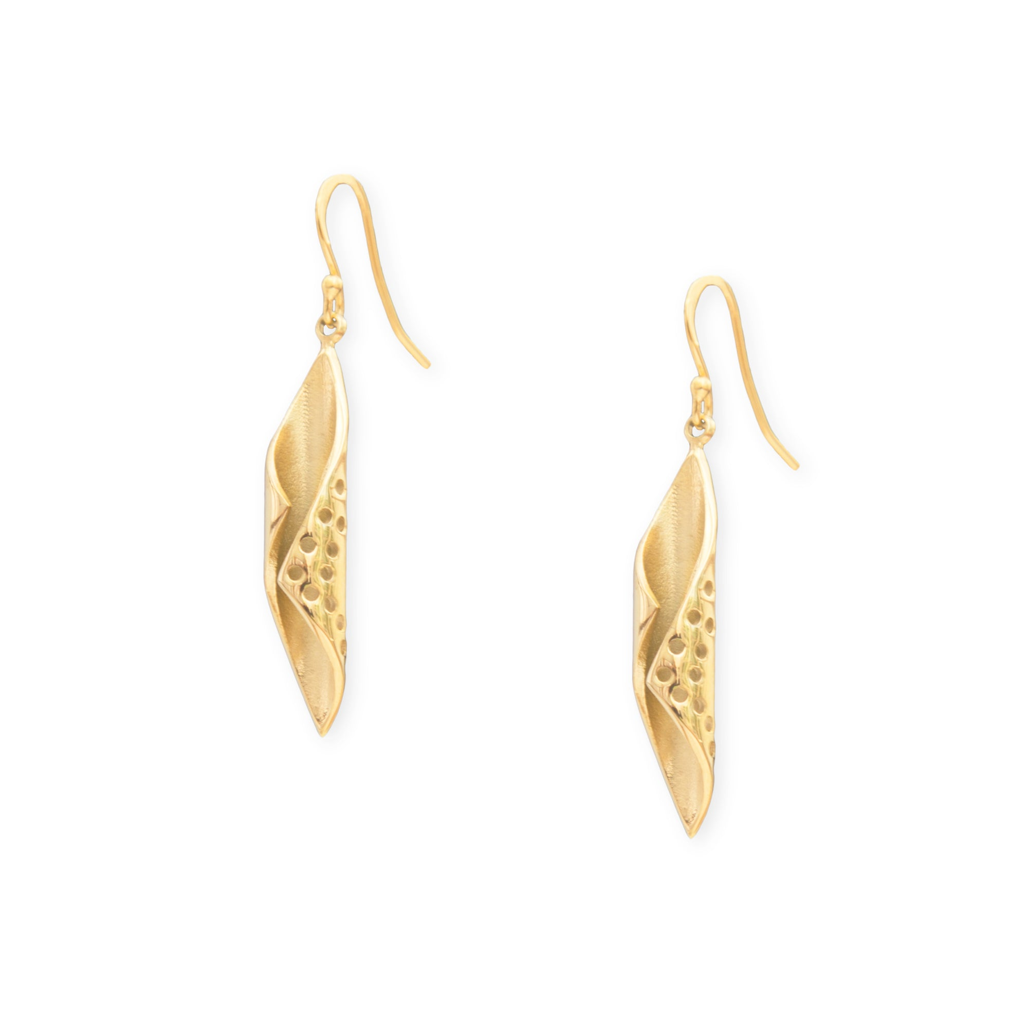 Eden Chrysalis earrings - gold plated curled chrysalis pendants on gold-plated hooks - Shop Ethical Jewellery & Fair Trade Gifts Melbourne at ONLY JUST