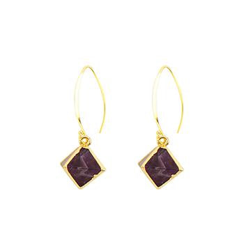Eden Desert Rose Earrings - Gold-plated earrings with violet amethyst stone setting on long hooks - Shop Ethical Jewellery & Fair Trade Gifts Melbourne at ONLY JUST