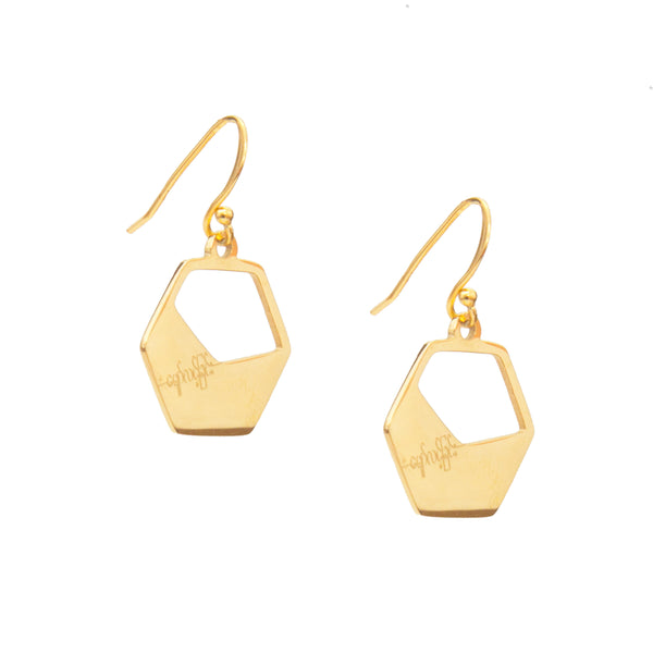 Eden Haymar earrings - Gold-plated pendant with hope engraving on hooks - Shop Ethical Jewellery & Fair Trade Gifts Melbourne at ONLY JUST