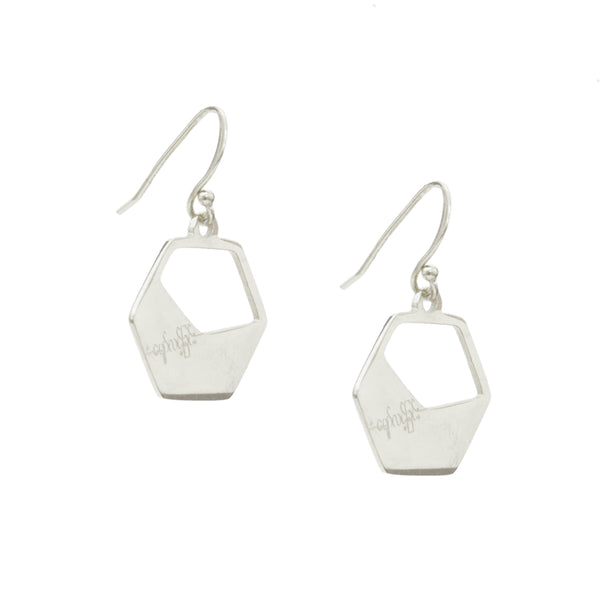 Eden Haymar earrings - silver pendant with hope engraving on hooks - Shop Ethical Jewellery & Fair Trade Gifts Melbourne at ONLY JUST