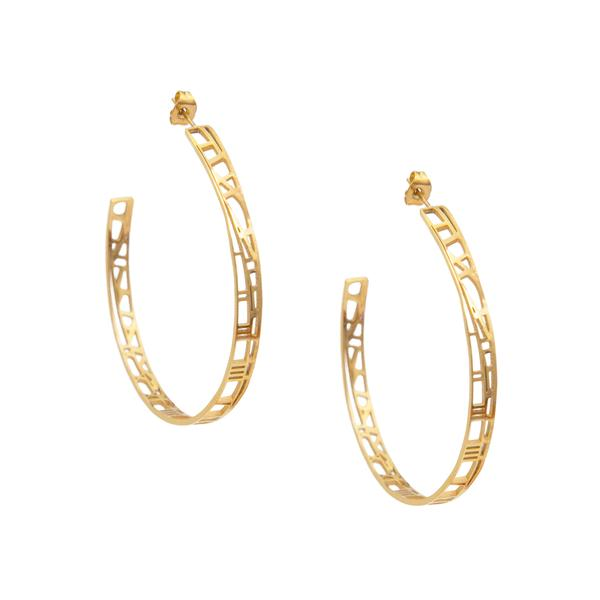 gold hoop earrings made by Eden from the Restoring Justice Collection  - Shop Ethical Jewellery & Fair Trade Gifts Melbourne at ONLY JUST