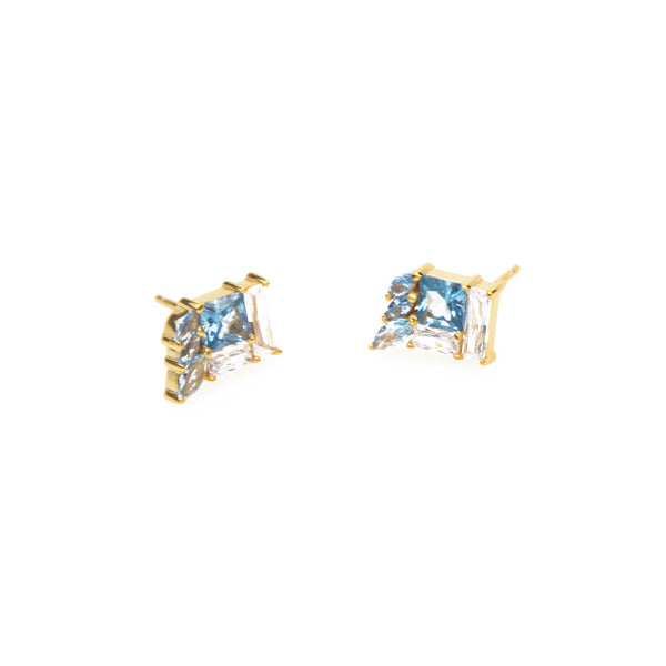 Eden Salt & light Earrings - gold plated studs with blue stone setting - Shop Ethical Jewellery & Fair Trade Gifts Melbourne at ONLY JUST