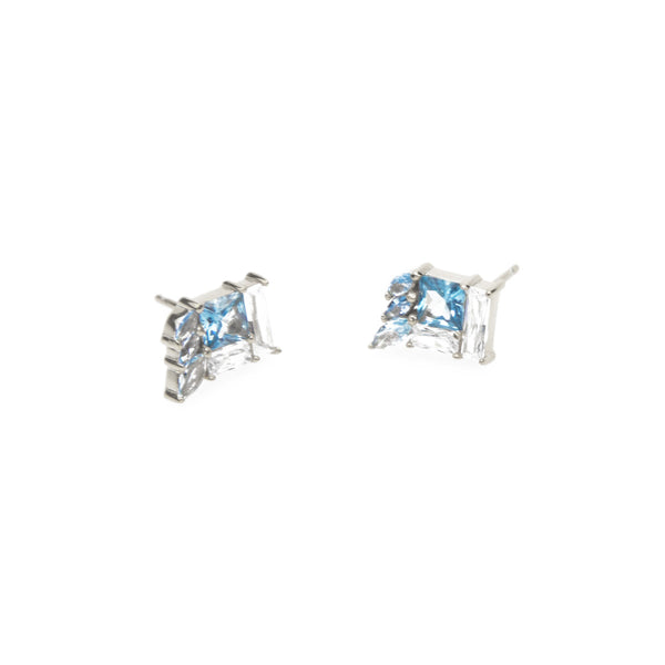 Eden Salt & light Earrings - silver studs with blue stone setting - Shop Ethical Jewellery & Fair Trade Gifts Melbourne at ONLY JUST