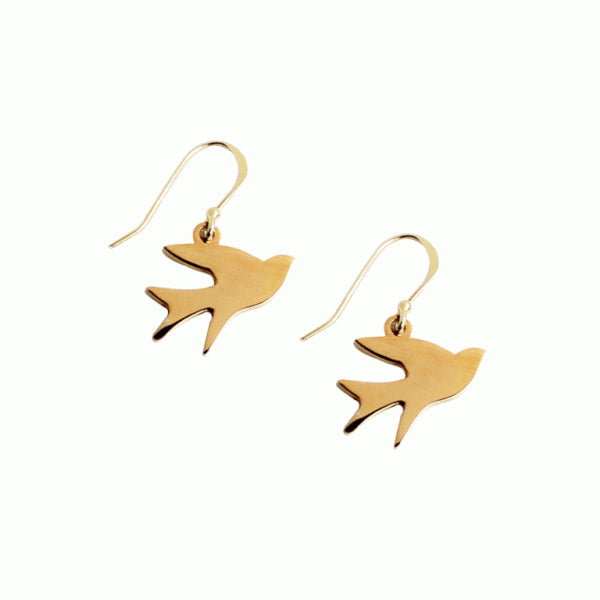 Eden Song of Freedom earrings - gold plated bird pendants on gold-plated hooks - Shop Ethical Jewellery & Fair Trade Gifts Melbourne at ONLY JUST