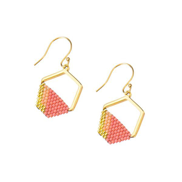 Eden Strength in Hope Earrings - gold plated pendant with hand woven pink glass beads -  Shop Ethical Jewellery & Fair Trade Gifts Melbourne at ONLY JUST