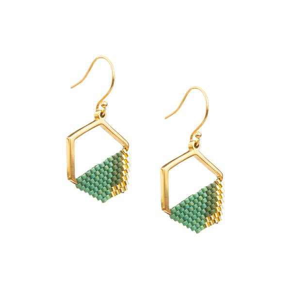 Eden Strength in Hope Earrings - gold plated pendant with hand woven teal glass beads -  Shop Ethical Jewellery & Fair Trade Gifts Melbourne at ONLY JUST