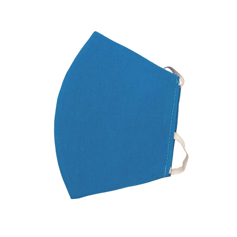 Blue Reusable Face Mask with elastic ear loops - ethically handmade in Myanmar by Eden - Shop Fair Trade Gifts Melbourne at ONLY JUST