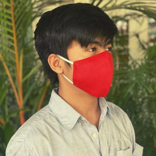 man wear red Reusable Face Mask with elastic ear loops - ethically handmade in Myanmar by Eden - Shop Fair Trade Gifts Melbourne at ONLY JUST