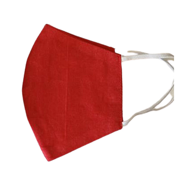 Red Reusable Face Mask with elastic ear loops - ethically handmade in Myanmar by Eden - Shop Fair Trade Gifts Melbourne at ONLY JUST