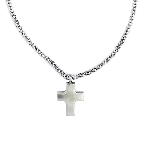 silver cross pendant hanging on silver chain - gender neutral Cross of Redemption necklace from Eden - Shop Ethical Jewellery & Fair Trade Gifts Melbourne at ONLY JUST
