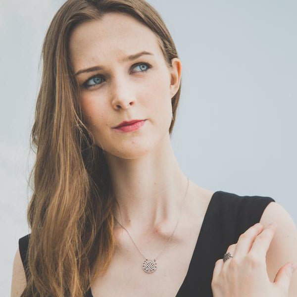 woman wearing silver pendant and chain necklace - Eden's restoring justice collection - Shop Ethical Jewellery & Fair Trade Gifts Melbourne at ONLY JUST