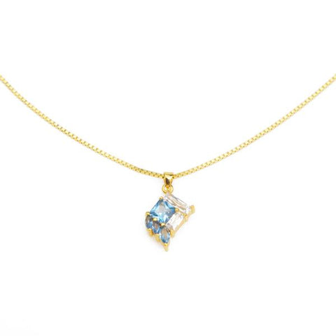 Gold Plated Necklace with Blue Stone Pendant from Eden Salt and light collection - Shop Ethical Jewellery & Fair Trade Gifts Melbourne at ONLY JUST